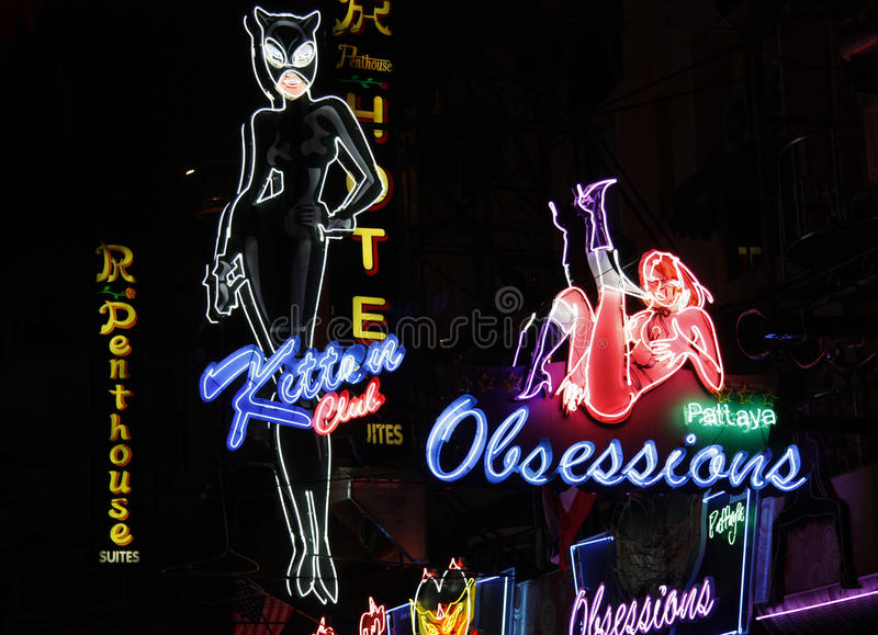 Red light district in Pattaya royalty free stock images