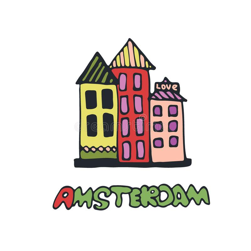 Red light district Vector icon. Hand drawn print. Amsterdam sticker design. Red light district Vector icon. Hand drawn print. Amsterdam sticker design stock illustration