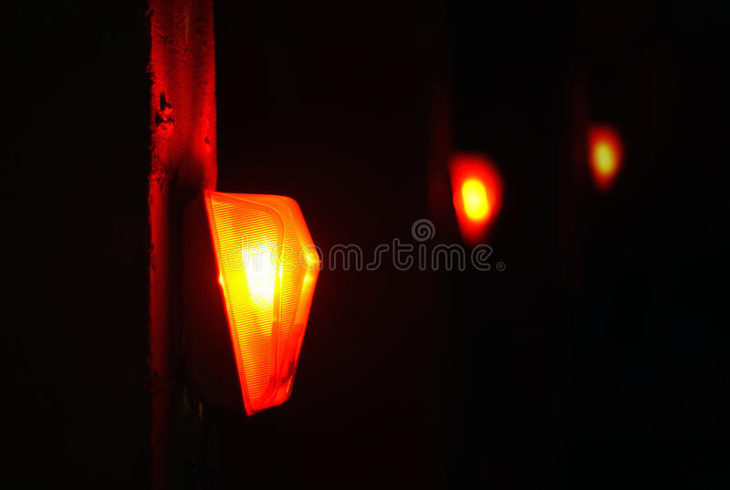 Red light. Red lighi in the construction site royalty free stock photo