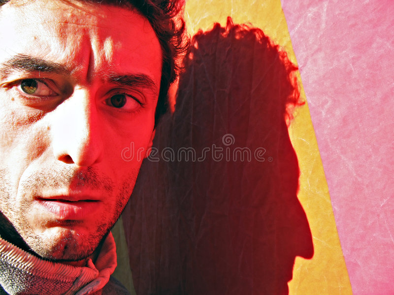 Red Light Reflection Portrait Royalty Free Stock Image