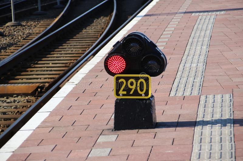 Red light sign 290 on the railroad platform at Rotterdam Central station in the Netherlands. royalty free stock image