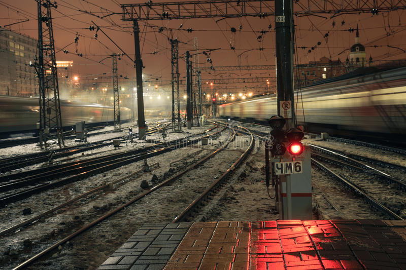 Red light signal at night on Kazansky rail station in Moscow, Russia. 2017 stock photos
