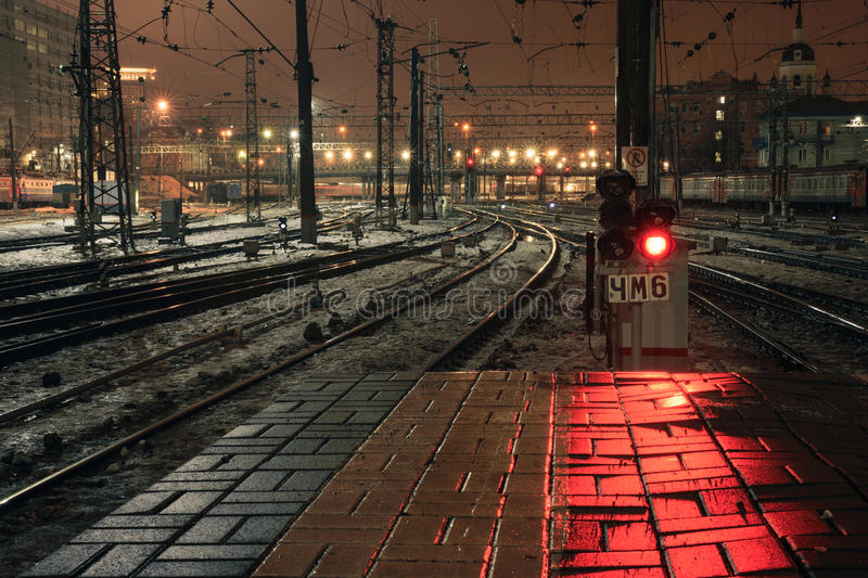 Red light signal at night on Kazansky rail station in Moscow, Russia. 2017 royalty free stock photography