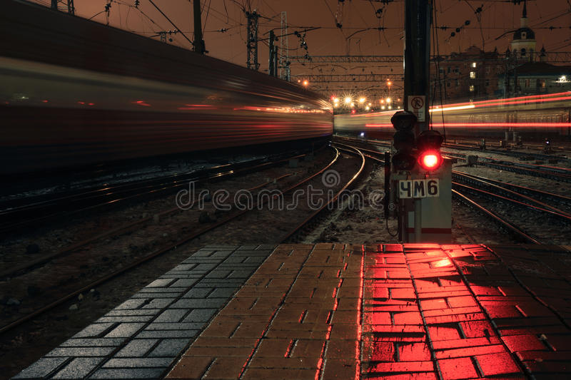 Red light signal at night on Kazansky rail station in Moscow, Russia. 2017 stock photography