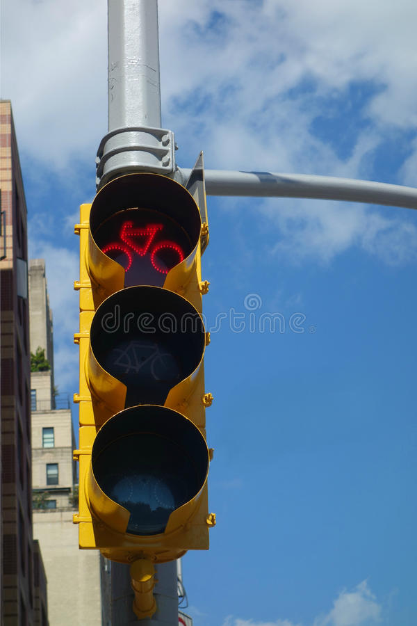 Red Light to Bikes. A traffic light for bicycles, with the red light on, in New York City stock photography