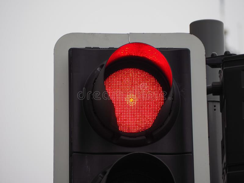 Red light traffic signal. Traffic signal with red light meaning stop stock image