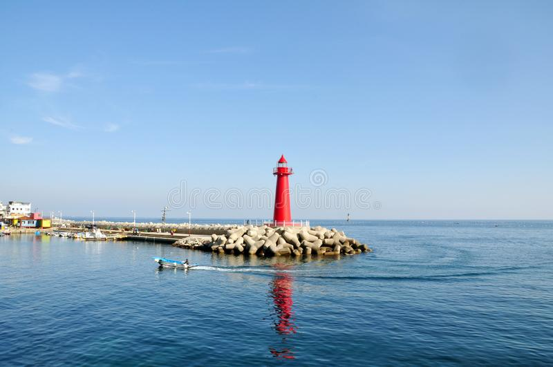 Red lighthouse at Cheongsapo port, Busan, South Korea stock image