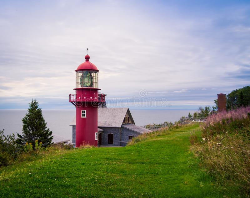 Red lighthouse in Gaspe, Quebec. Red lighthouse on the coast in Gaspe, Quebec stock photos