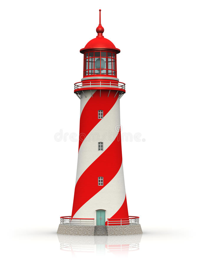 Free Red Lighthouse On White Royalty Free Stock Photos - 27337878