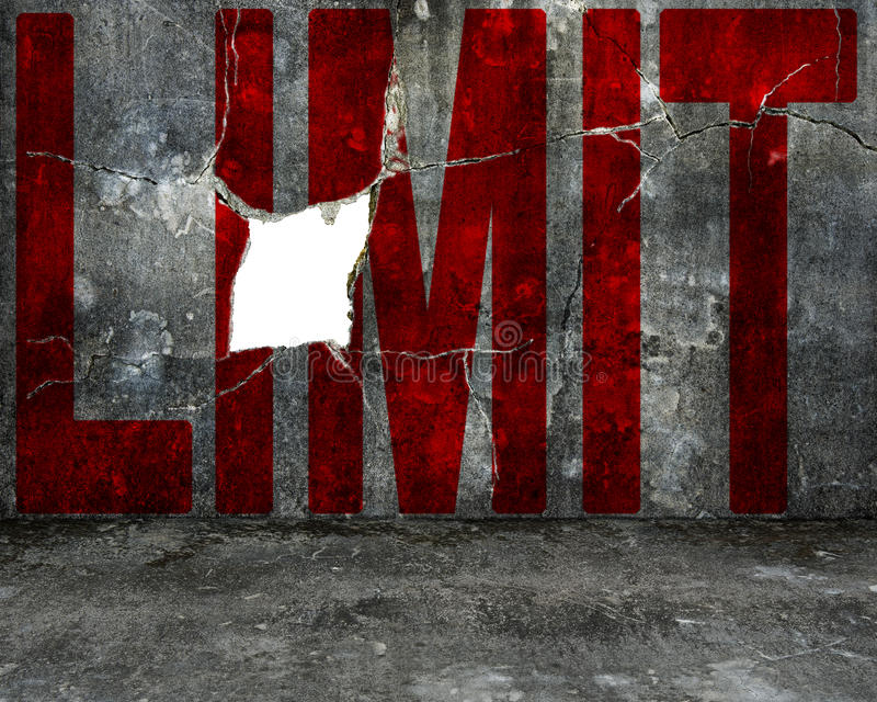 Red limit word on mottled concrete wall with large hole. Red limit word on old mottled concrete wall with large blank hole royalty free stock photos