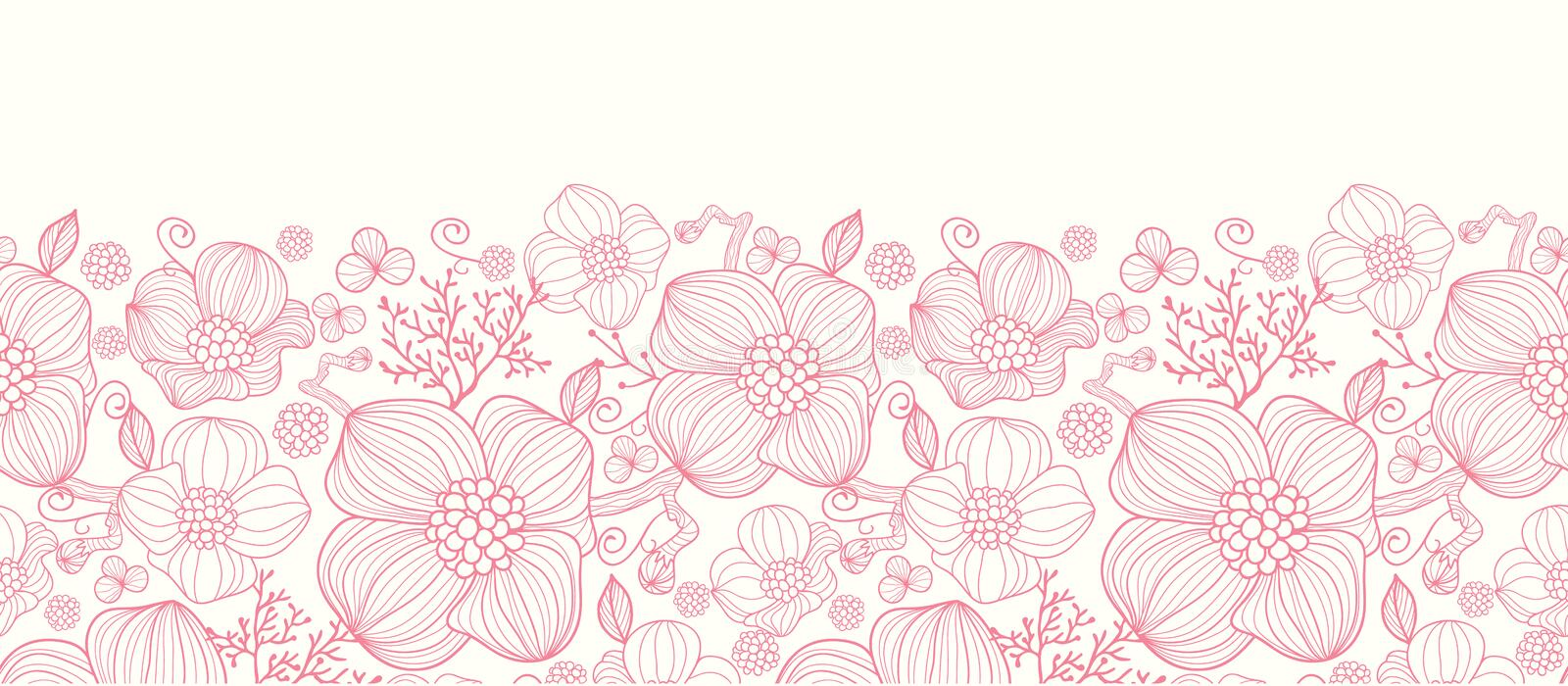 Red Flower Line Drawing : Red line art flowers horizontal seamless pattern royalty