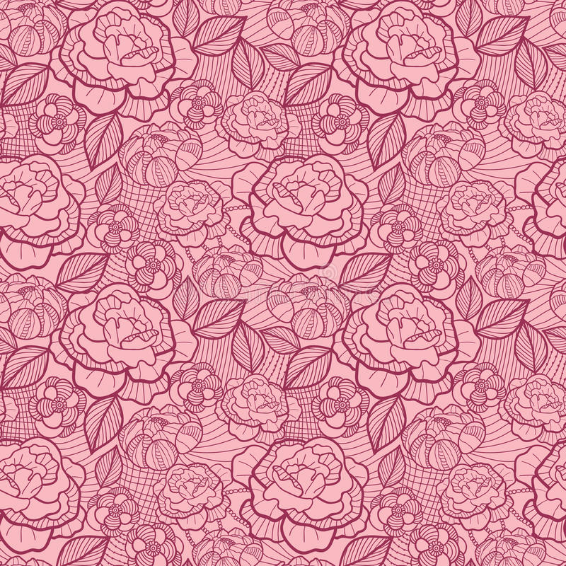 Free Red Line Art Flowers Seamless Pattern Background Royalty Free Stock Photo - 32121515