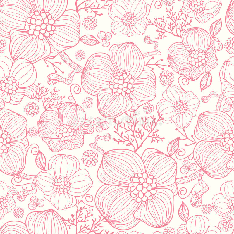 Floral Art Line Design : Red line art flowers seamless pattern background stock