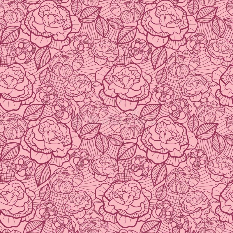 Line Art Flower Background : Red line art flowers seamless pattern background stock