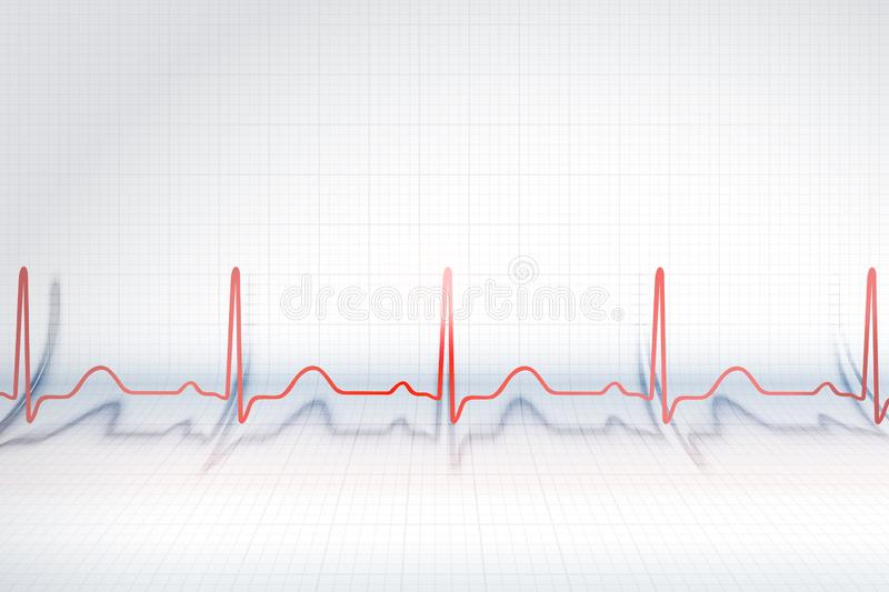 Red line of ECG chart. On the background of bended plotting paper vector illustration