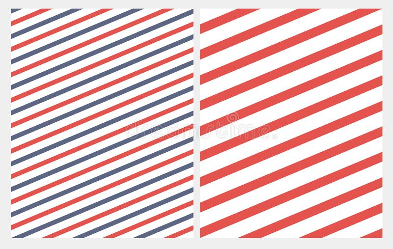 Simple Diagonal Red and Blue Stripes Seamless Vector Pattern. Red Lines on a White Background. Abstract Geometric Marine Style Repeatable Design. Diagonally royalty free illustration