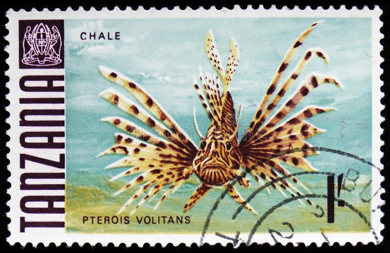 Red Lionfish (Pterios volitans), Fish Definitives (1967-1973) serie, circa 1967. MOSCOW, RUSSIA - MARCH 30, 2019: A stamp printed in Tanzania shows Red Lionfish royalty free stock photo