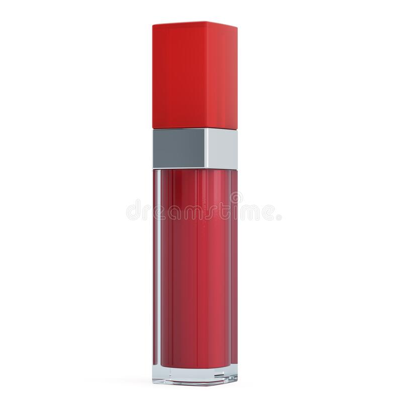 Red lip gloss, 3D rendering. Isolated on white background vector illustration