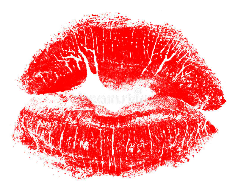 Red lips. Beautiful women's red lips isolated in white background