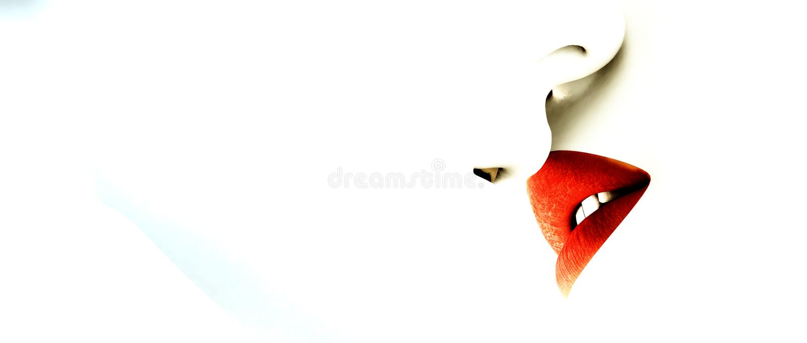 Red lips abstract. Woman with ruby red lips about to kiss someone with white lips royalty free illustration