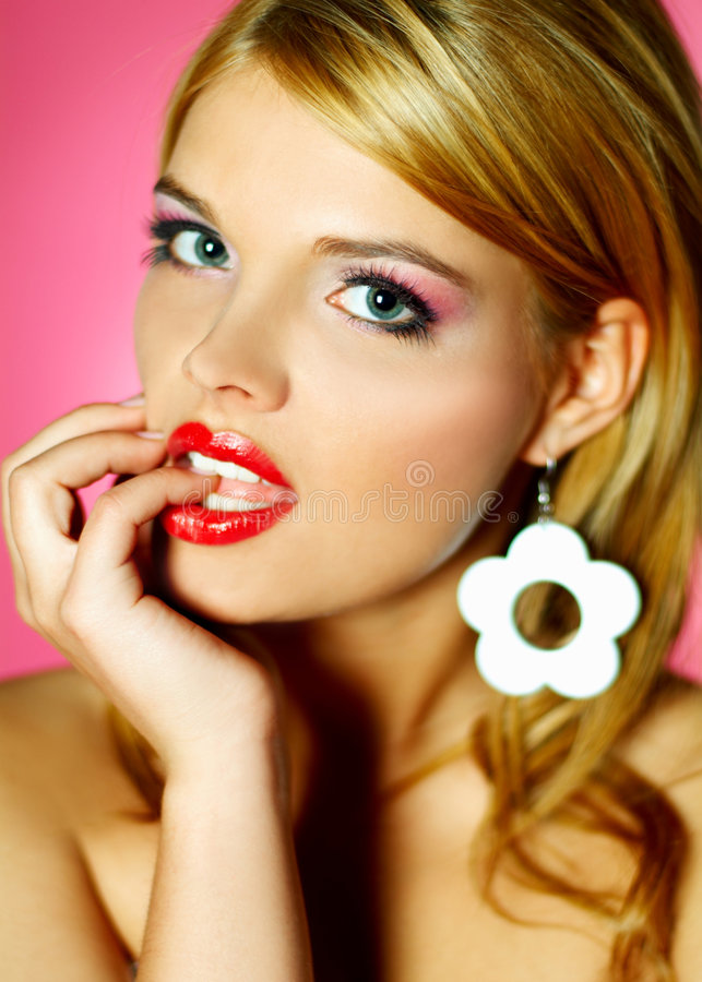Red lips beauty royalty free stock photo