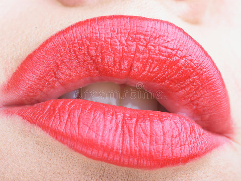 Red Lips Close-Up royalty free stock image