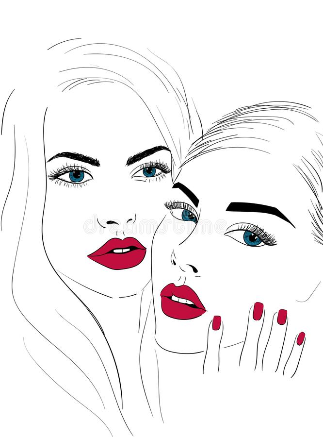 Red lips faces with nails vector illustration