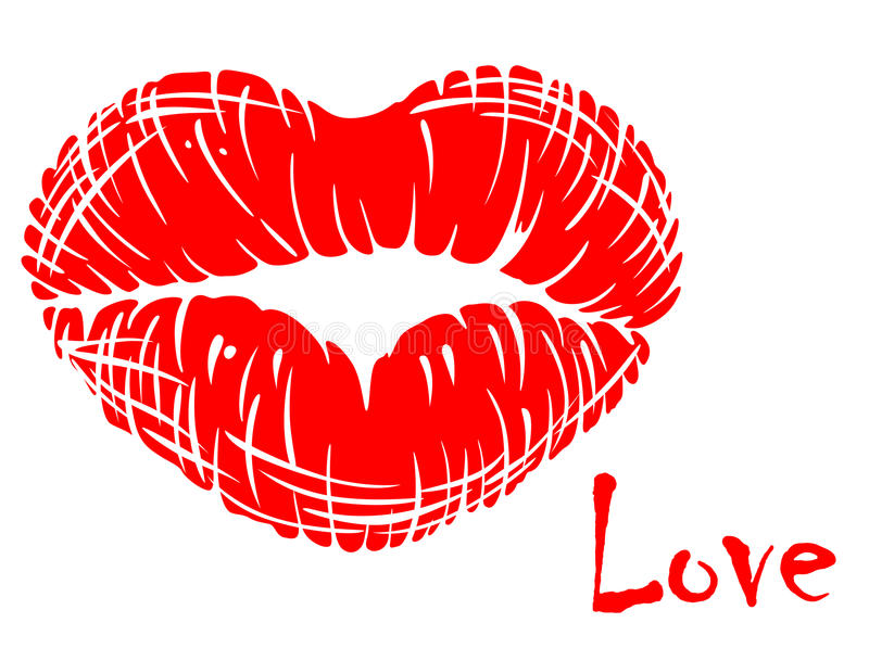 Red lips in heart shape royalty free illustration