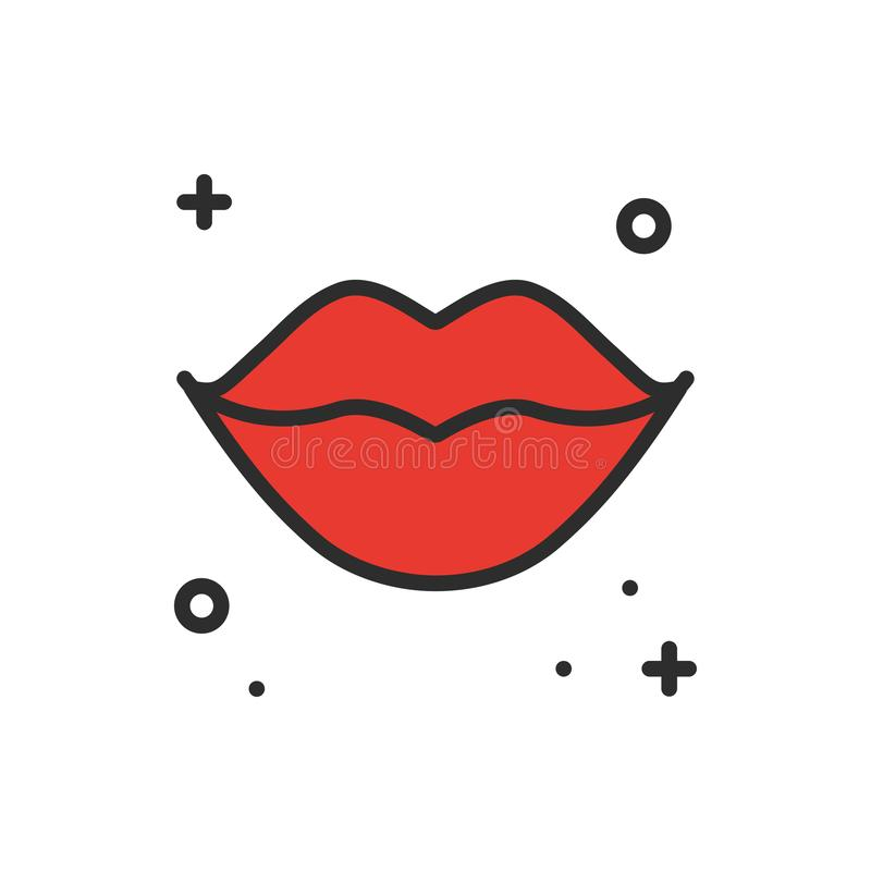 Red lips kiss line icon. Woman lips contour sign and symbol. Love relationship romantic tattoo theme. Female lips print. Lipstick kiss royalty free illustration