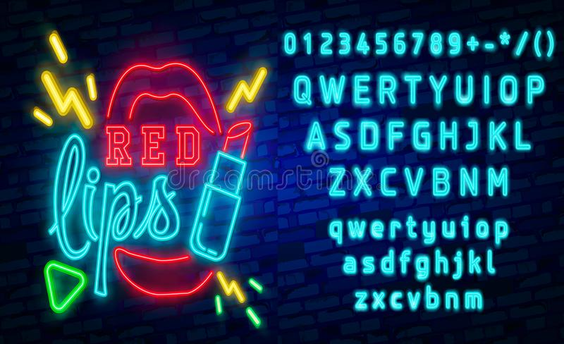 Red Lips neon sign, Set fashion neon sign. bright signboard, light banner. Vector icons. Red Lips neon sign, Retro fashion neon sign. bright signboard, light royalty free illustration