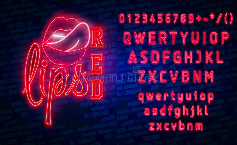 Red Lips neon sign, Set fashion neon sign. bright signboard, light banner. Vector icons stock illustration