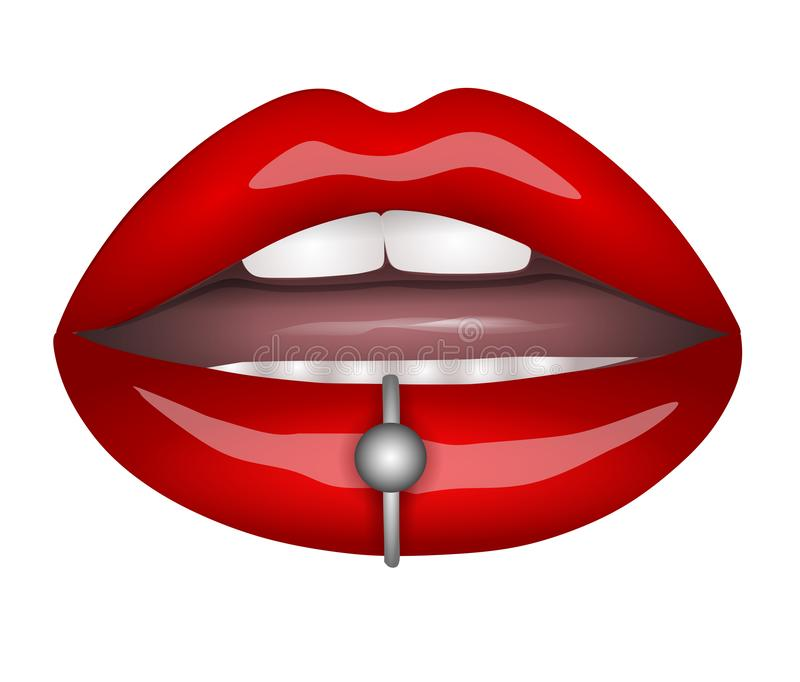 red lips with piercing royalty free illustration