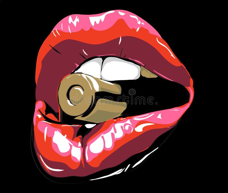 Red lips. Red lips with bullet. Red lips on black. biting red lips. Abstract lipstick in the open mouth with gold metal bull royalty free illustration