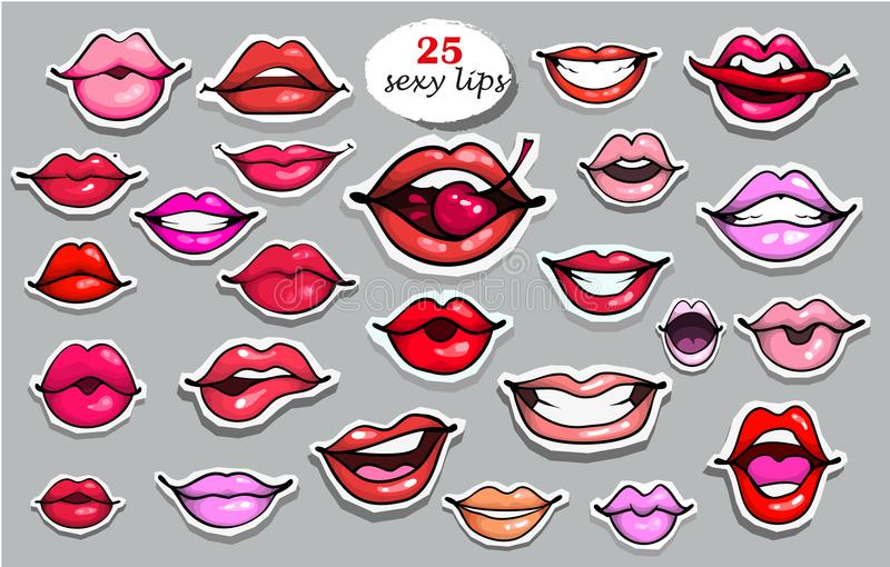 25 Red lips sticker collection. Illustration isolated on grey background. Patches set. Banner.Fashion patch badges. Red lips sticker collection. Illustration royalty free illustration