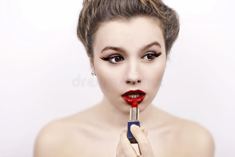 Download Red lipstick stock image. Image of femininity, mouth - 22624351