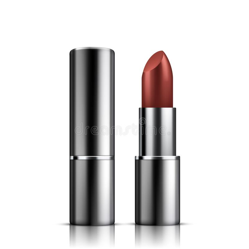Red lipstick mockup, cosmetic package design stock illustration