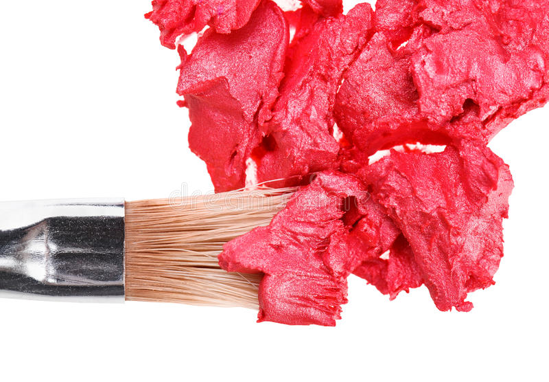Download Red Lipstick Stroke With Makeup Brushn Whit Stock Photos - Image: 19602073
