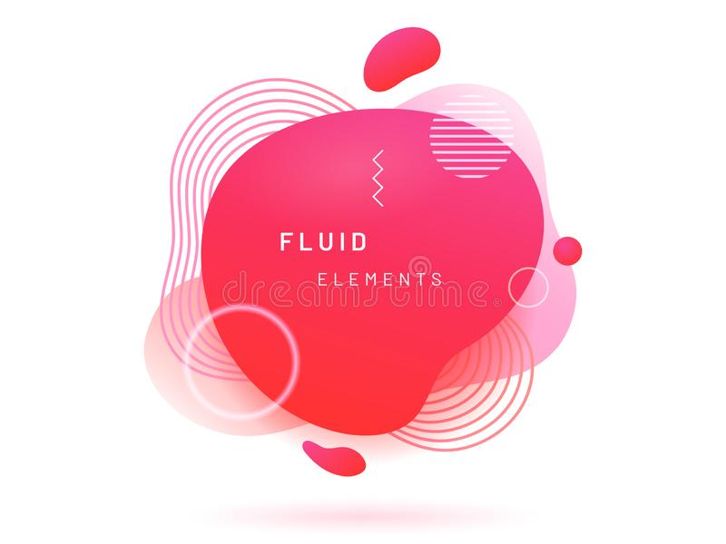 Red liquid blob with lines and circle. royalty free illustration