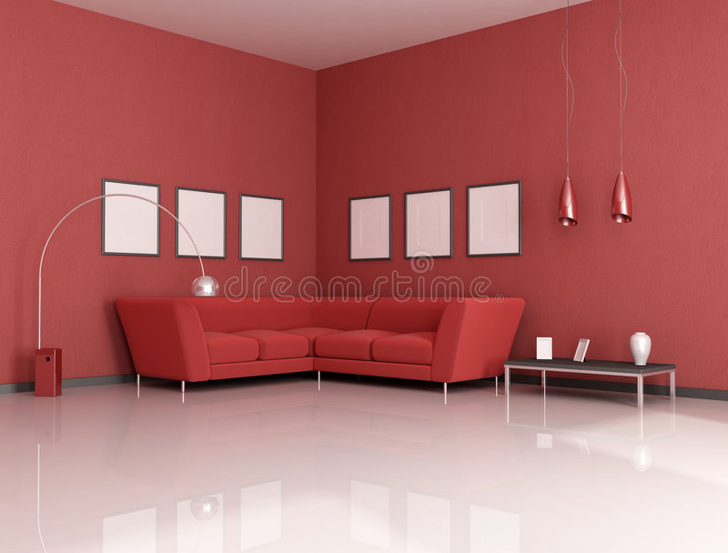 Red living room royalty free illustration