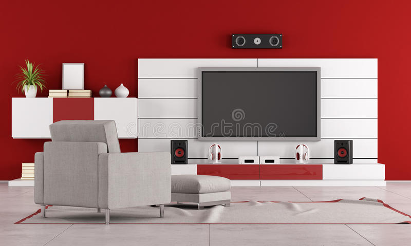 Red living room with TV vector illustration