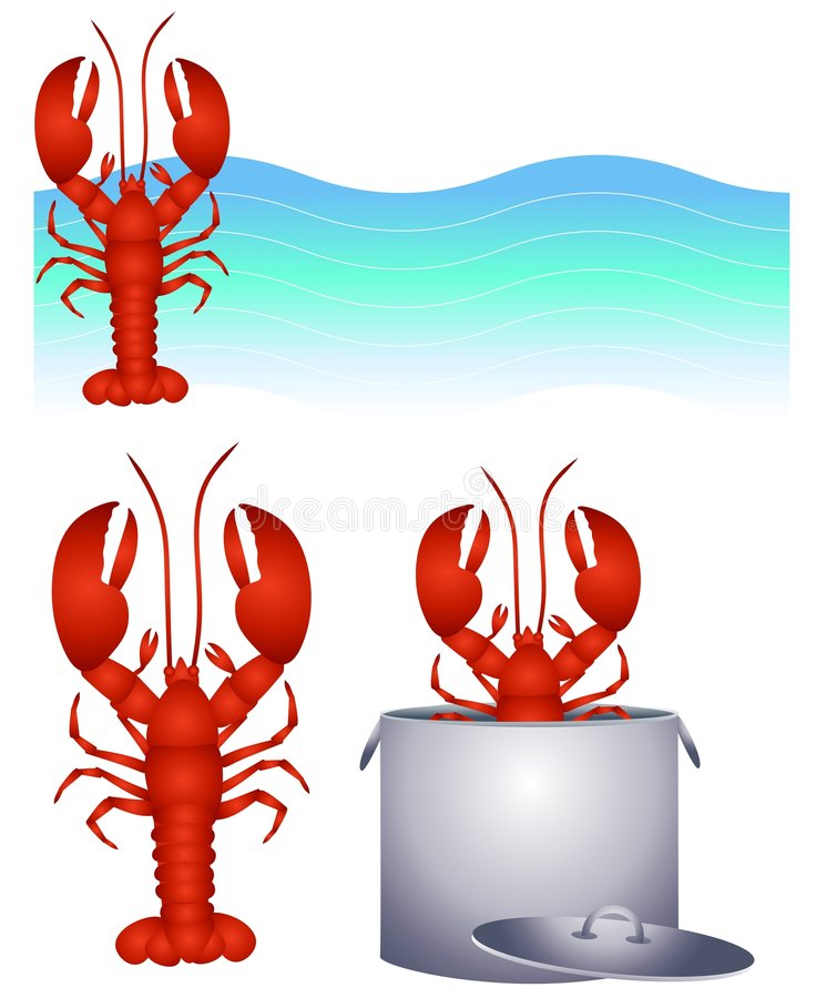 Red Lobster Clip Art and Logo. An illustration featuring an assortment of red lobster graphics including logo, clip art and in the pot. Yummy stock illustration