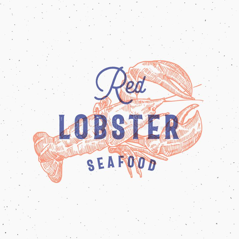 Red Lobster Seafood Retro Print Effect Card Abstract Vector Sign