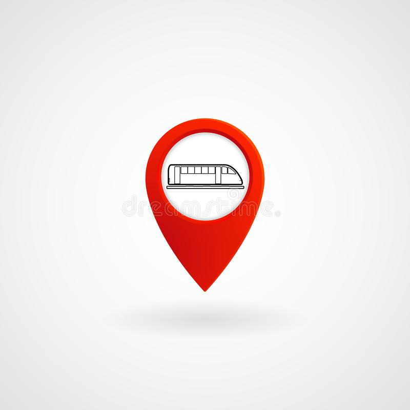Red Location Icon for Metro Station, Vector stock illustration