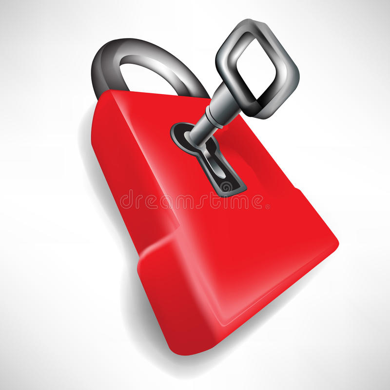 Red lock with key. Single red lock with key vector illustration