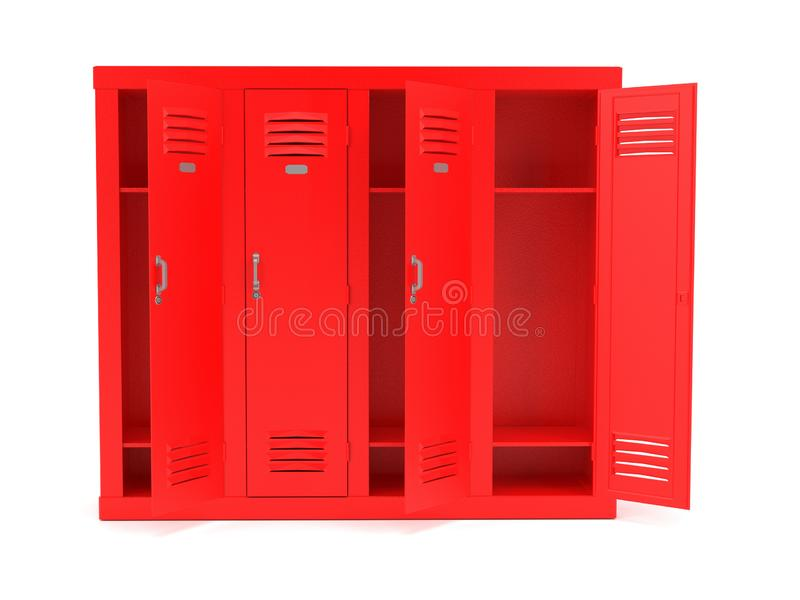 Red lockers with open doors. 3d rendering illustration isolated. On white background royalty free stock photography
