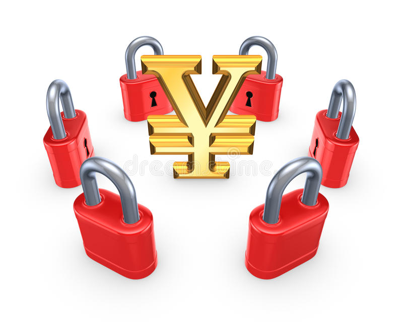 Download Red Locks Around Symbol Of Yen. Stock Illustration - Illustration: 32234327
