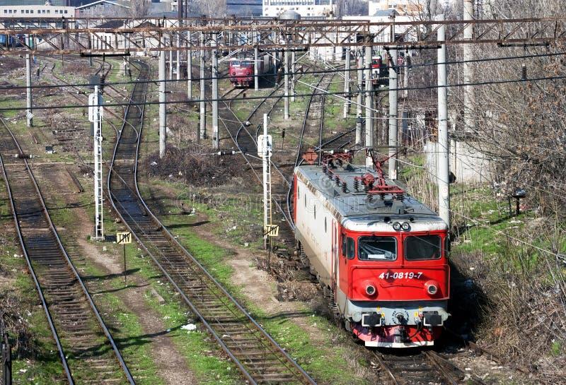 Red locomotive - RAW format stock image