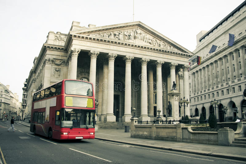 Red london bus city architecture uk royalty free stock photo