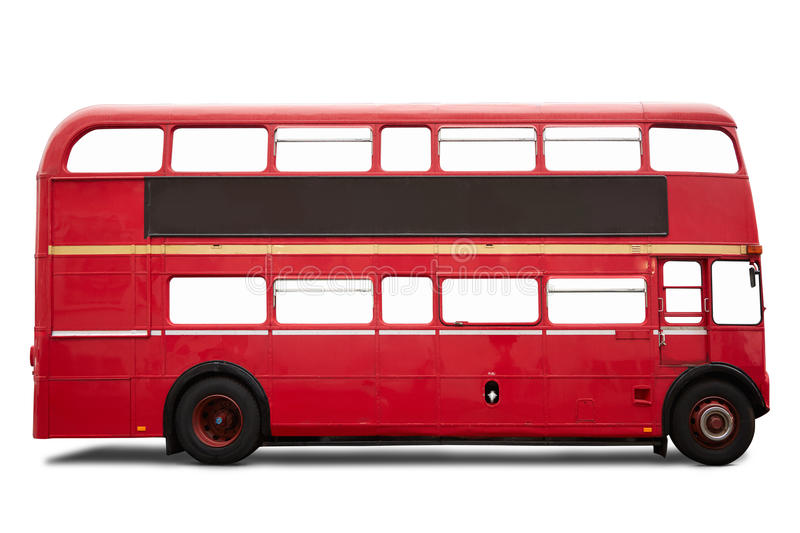 Red London bus, double decker on white royalty free stock images