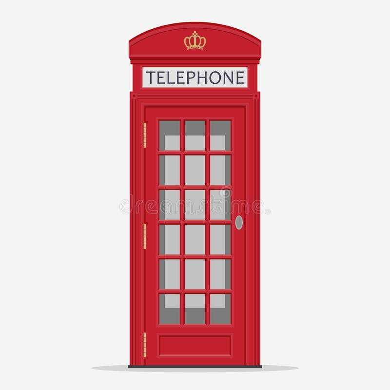 Red London Street Phone Booth vector royalty free illustration